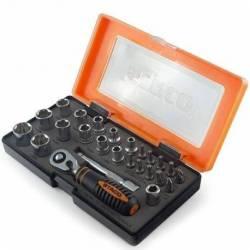 20953.STACO Zestaw bitów 25szt. 1/4x25mm nasadki 4-13mm TX PZ PH grzechotka+adapter plastikowe etui STACO NORDIC