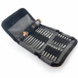 20960.STACO Zestaw 21szt. bitów 1/4 25mm i 90mm TX,PH,PZ,Płaski z uchwytem magnetycznym materiałowe etui STACO NORDIC