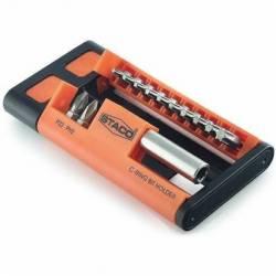 20963.STACO zestaw 13 bitów 1/4x25mm TX,PZ,PH z uchwytem magnetycznym plastikowe etui STACO NORDIC
