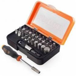 20970.STACO zestaw 30 bitów 1/4x25mm TX,PH,PZ,Płaski,HEX z uchwytem magnetycznym STACO NORDIC